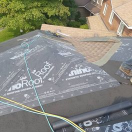 top view of roof installation