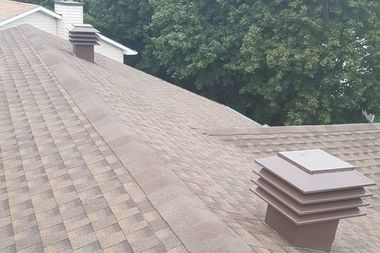 View of a repaired roof